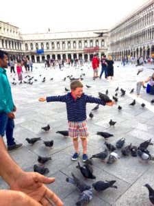 A first for Luc, being a statue and allowing pigeons to land on him.