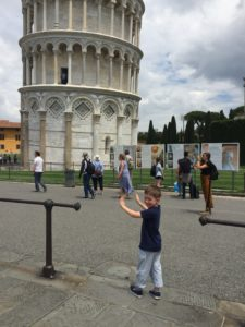 Luc doing his part to hold up the tower.