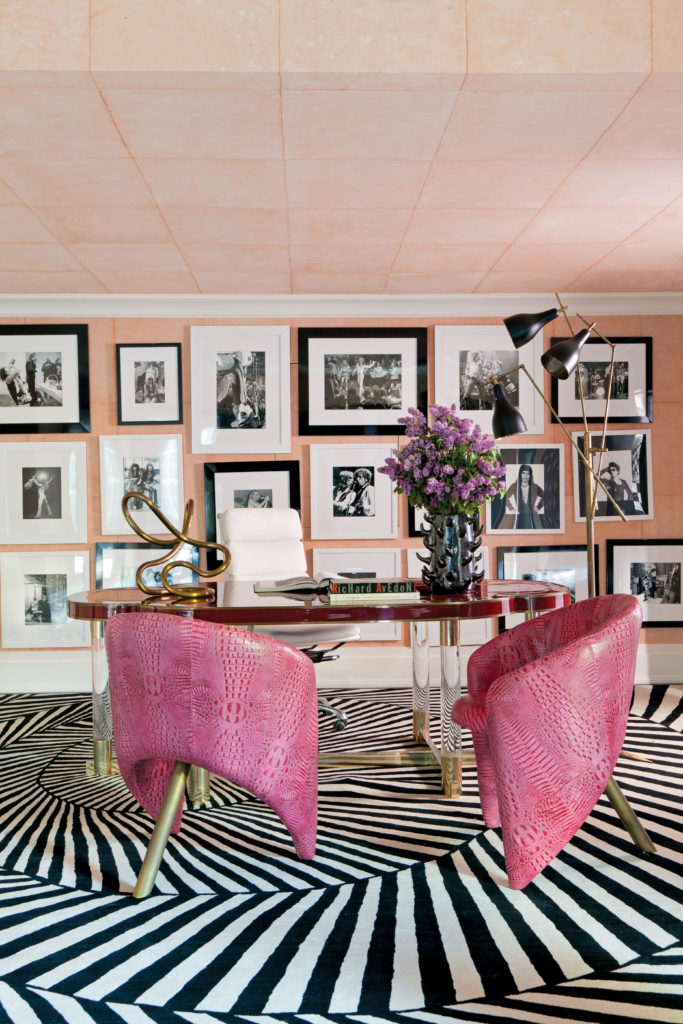 Office with salon wall, copyright by Roger Davies with permission of Architectural Digest; interior design by Kelly Wearstler.